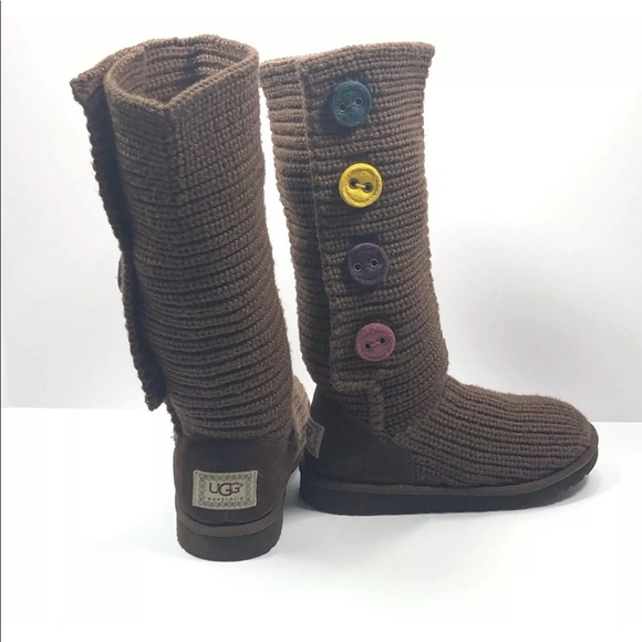 672a529e646 Girls Ugg Boots Brown Sweater Cardy Tall Knit Sz 3